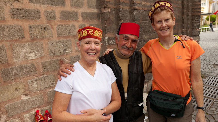 Wearing fezes in Sultanahmet neighborhood, Istanbul, Turkey