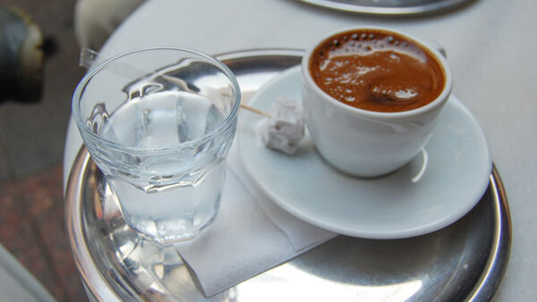 Glass of water and cup of coffee, Istanbul, Turkey
