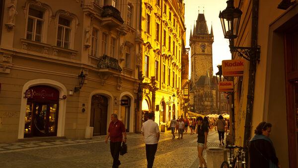 Street view of Old Town Hall, Prague, Czech Republic