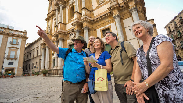 Travelers in front of San Domenico Church, Palermo, Sicily