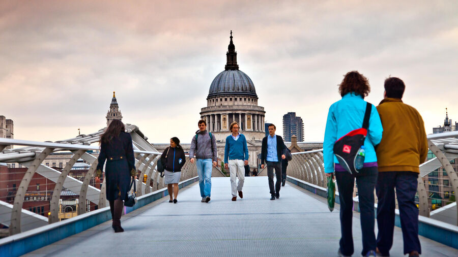 Millennium Bridge and the dome of St. Paul's Cathedral