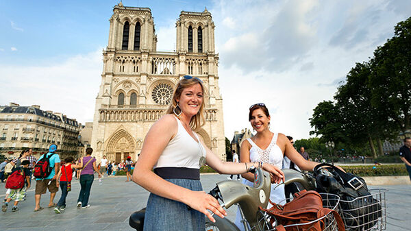 Girls with bikes at Notre Dame