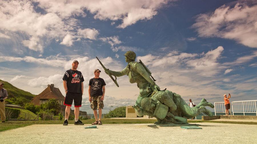 """Ever Forward"" memorial statue, Omaha Beach"