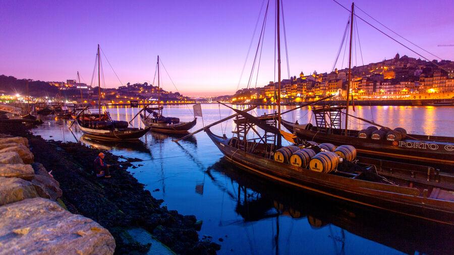 Port wine boats along Cais da Ribeira, Porto