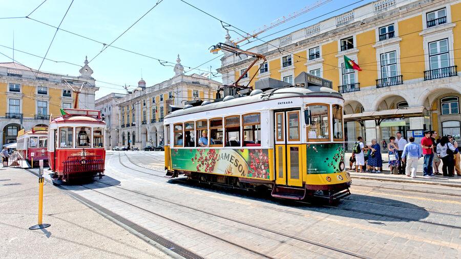 Trolleys on Praça do Comercio, Lisbon