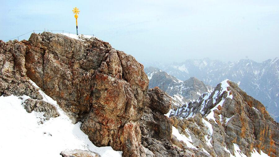 Zugspitze summit, above Bavaria's Garmisch-Partenkirchen (and Tirol's Ehrwald)