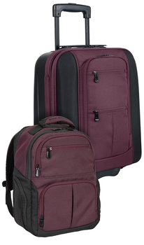 """Ravenna 17"""" Carry-On + Day Pack - Plum Color"""